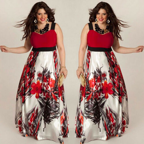 Plus Size Women Floral Printed Long Maxi Evening Party Prom Gown Formal Dress US