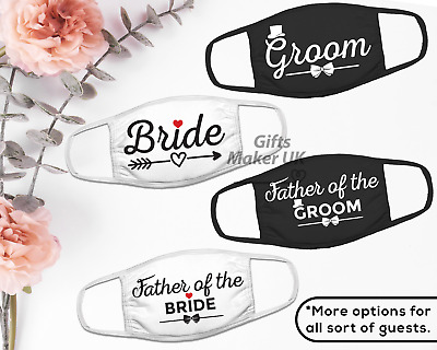 Bride Groom Wedding Face Masks Wedding Party Reusable Washable Guest Face Mask Ebay