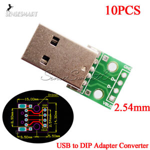 10-PCS-USB-to-DIP-Adapter-Converter-4Pin-for-2-54mm-PCB-Board-Power-Supply-DIY