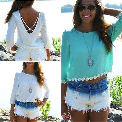 Womens Summer Casual Chiffon Vest Tops Tank Backless Beach Shirt Top Blouse