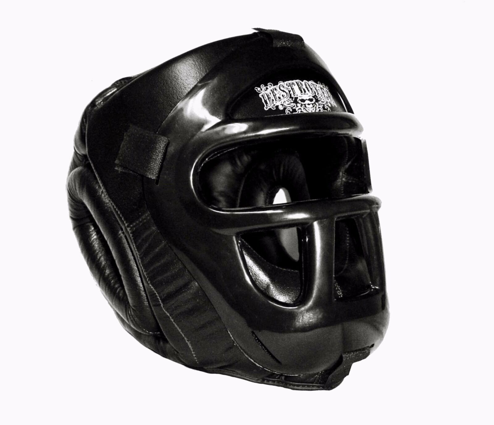 Destroyer leather premium head gear with hard face guard