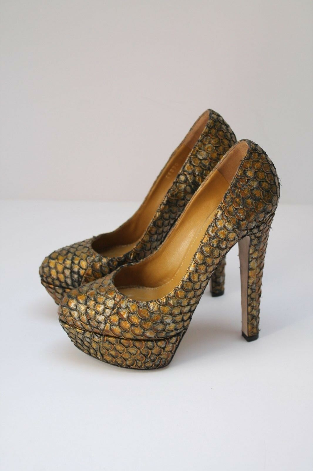 Sergio Rossi Snake Skin Platform Heels, Größe 3 UK 36 EU