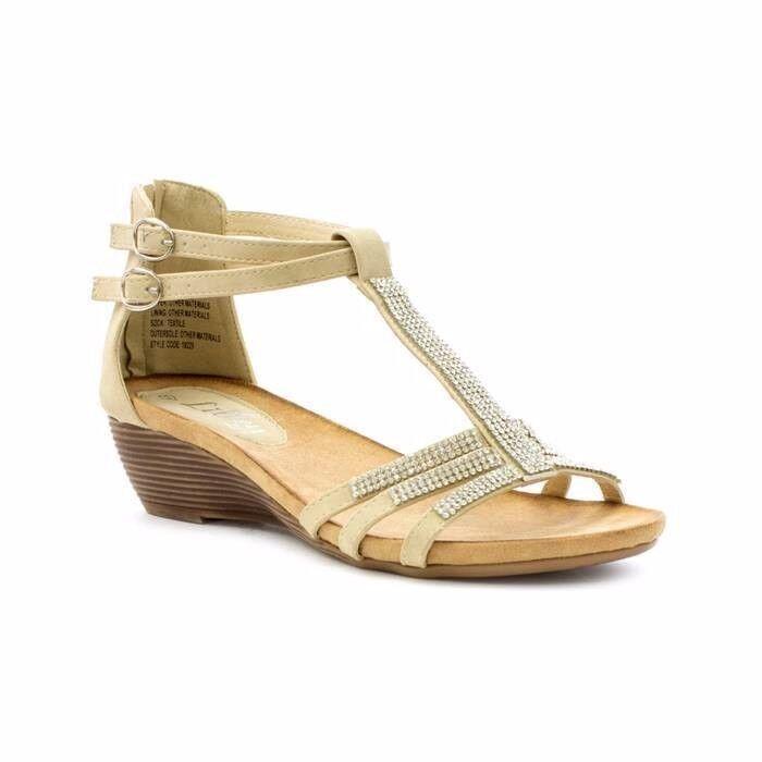 Lilley Womens UK 4 EU 37 Beige Embellished Wedge Heel Buck Fastening New Sandals
