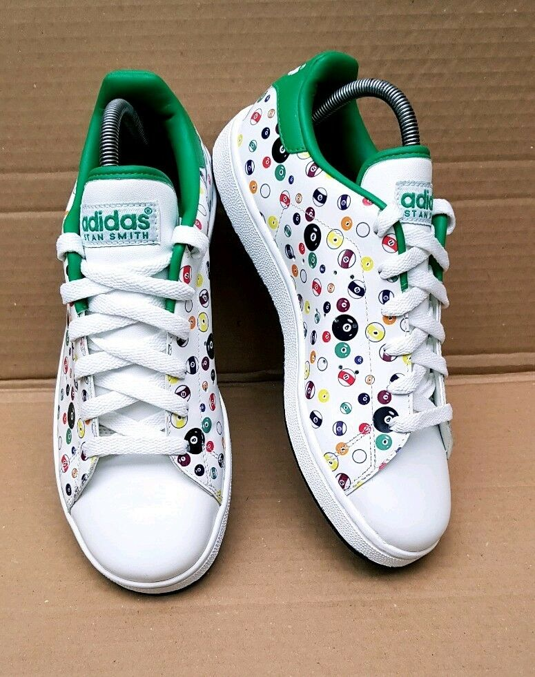 NEW GORGEOUS ADIDAS STAN POOL BALL TRAINERS Taille 5.5 UK RARE BNWOT blanc  vert