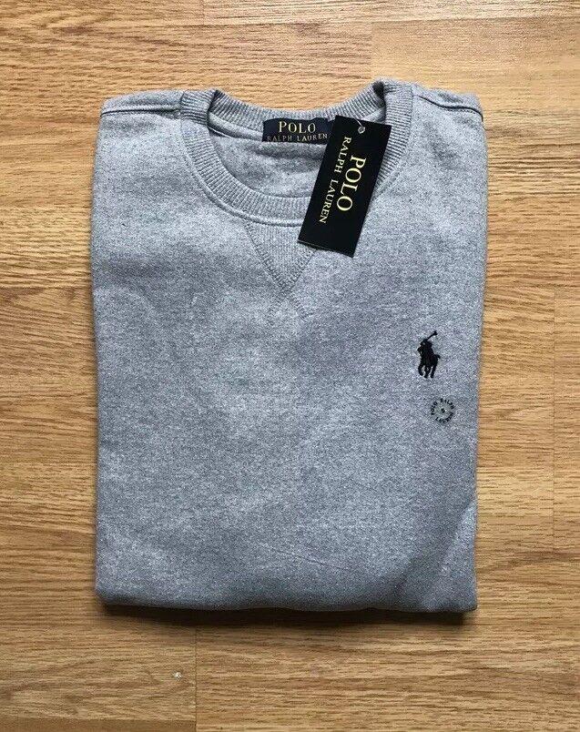 Ralph Lauren Fleece Sweatshirt/jumper Long Sleeve Grau Größe XL
