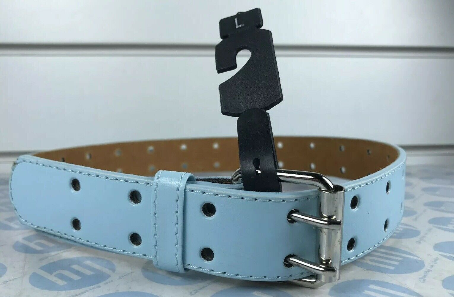"""Leather Belt Light Blue With Two Whole Strong Lock L 32mm X 83cm Fits 24""""-31"""""""