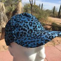 Sequin Blue Leopard Cap Ladies Woman's Hat