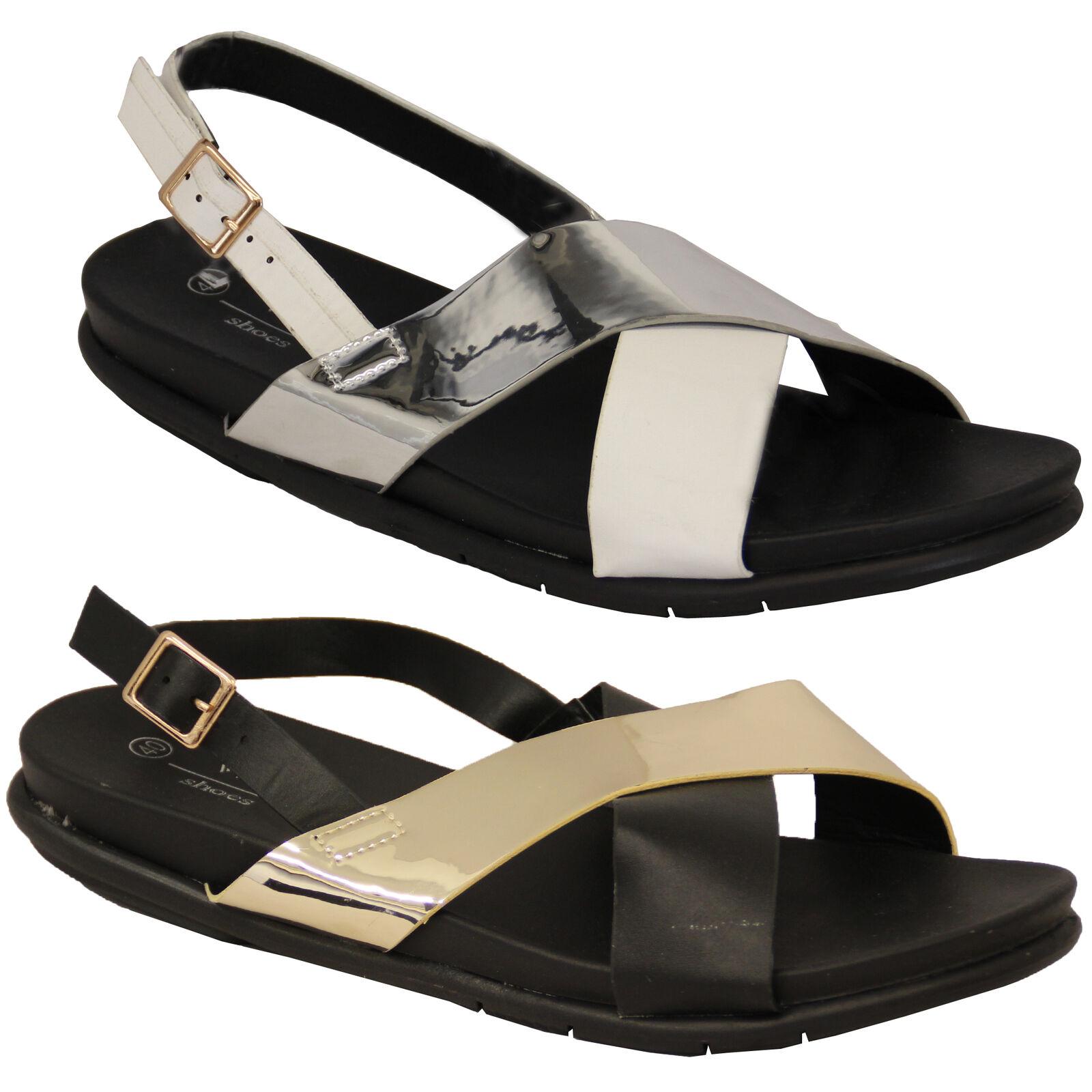 Sandalias Zapatos Mujer Peep Toe Plana Tira Trasera Hebilla Zapatos Sandalias Informal a la Moda c41051