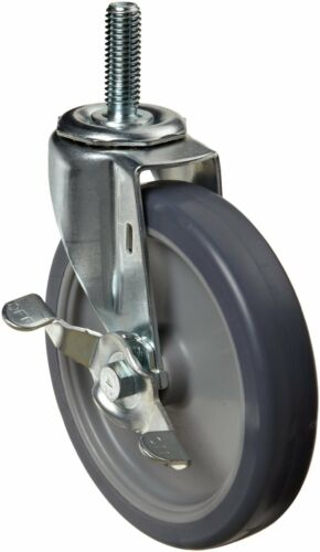 E.R. Wagner Stem Caster Swivel with Pinch Brake TPR Rubber on Polyolefin Wheel