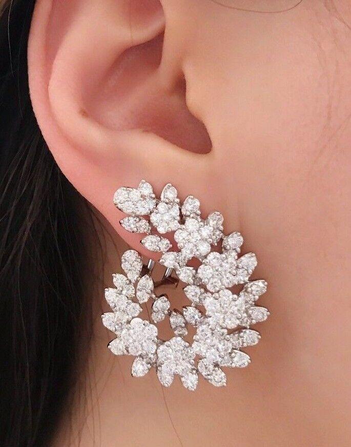 9.19 ct Diamond Cluster Earrings in 18k White gold - HM1946RI