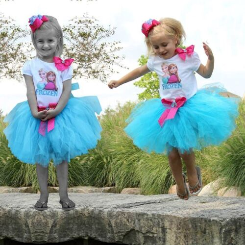 Princess Kids Baby Girl Elsa Anna Tops+Lace Tutu Skirts Dress 2pcs Outfits Set