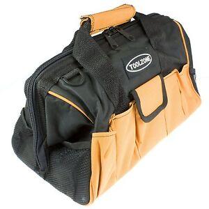 Heavy Duty 16/'/' 28 Pocket Wide Opening Hard Base Nylon Tool Bag Toolbag Box 017