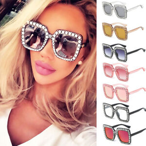 ac4052e37c9 Image is loading 2018-NEW-Oversized-Square-Frame-Bling-Rhinestone-Sunglasses -