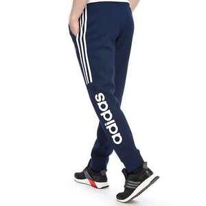 newest fbe1c b2538 Adidas-Originals-Mens-Linear-Fleece-Jogging-Bottoms-Blue-