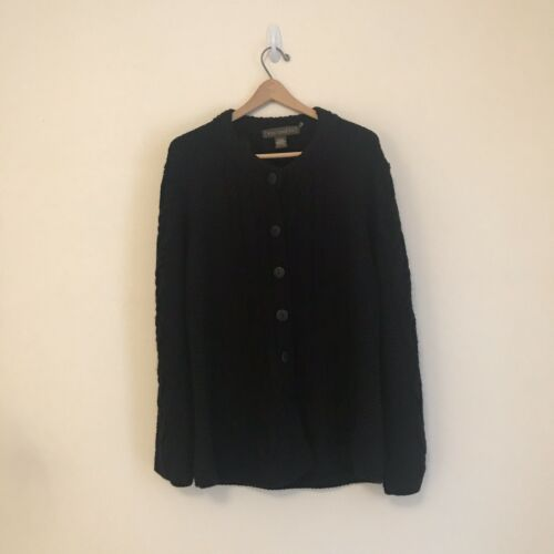Inis Craft Cardigan Black Merino Wool Large