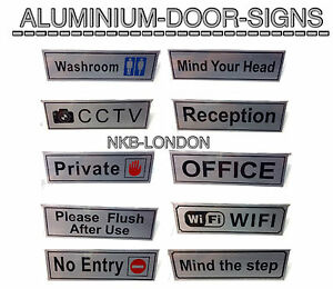 new metal self adhesive aluminium sticker office business shop notice signs uk ebay. Black Bedroom Furniture Sets. Home Design Ideas