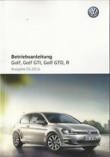 VW GOLF 7 + Golf GTI GTD R Betriebsanleitung 2016 Handbuch Bordbuch BA