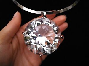 Bib-Pendant-Choker-Gold-Silver-Huge-Large-Clear-Gem-Crystal-Rhinestone-Necklace