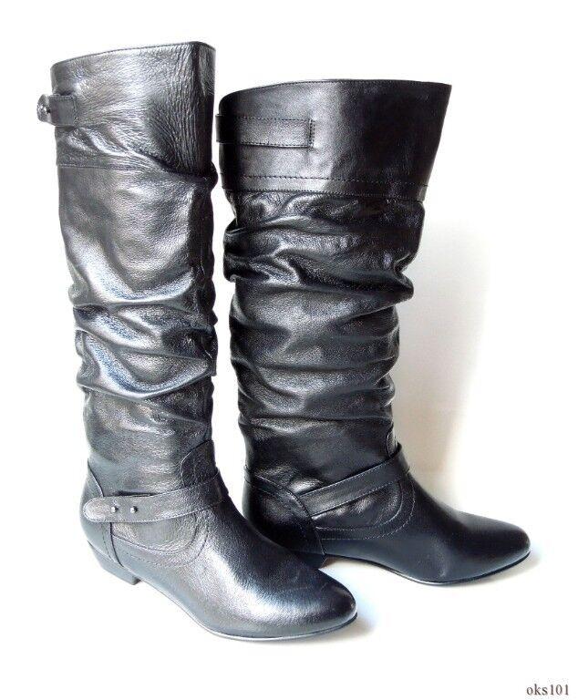 NIB STEVE MADDEN 'Kikii' black leather TALL 6 FLAT BOOTS 6 TALL - very comfortable aad835