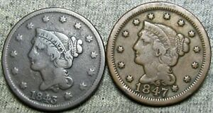 1843 1847 Braided Hair Large Cent Penny Lot ---- Type Coin Lot ---- #L345
