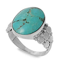 Best Seller Natural Turquoise .925 Sterling Silver Ring Sizes 6-9
