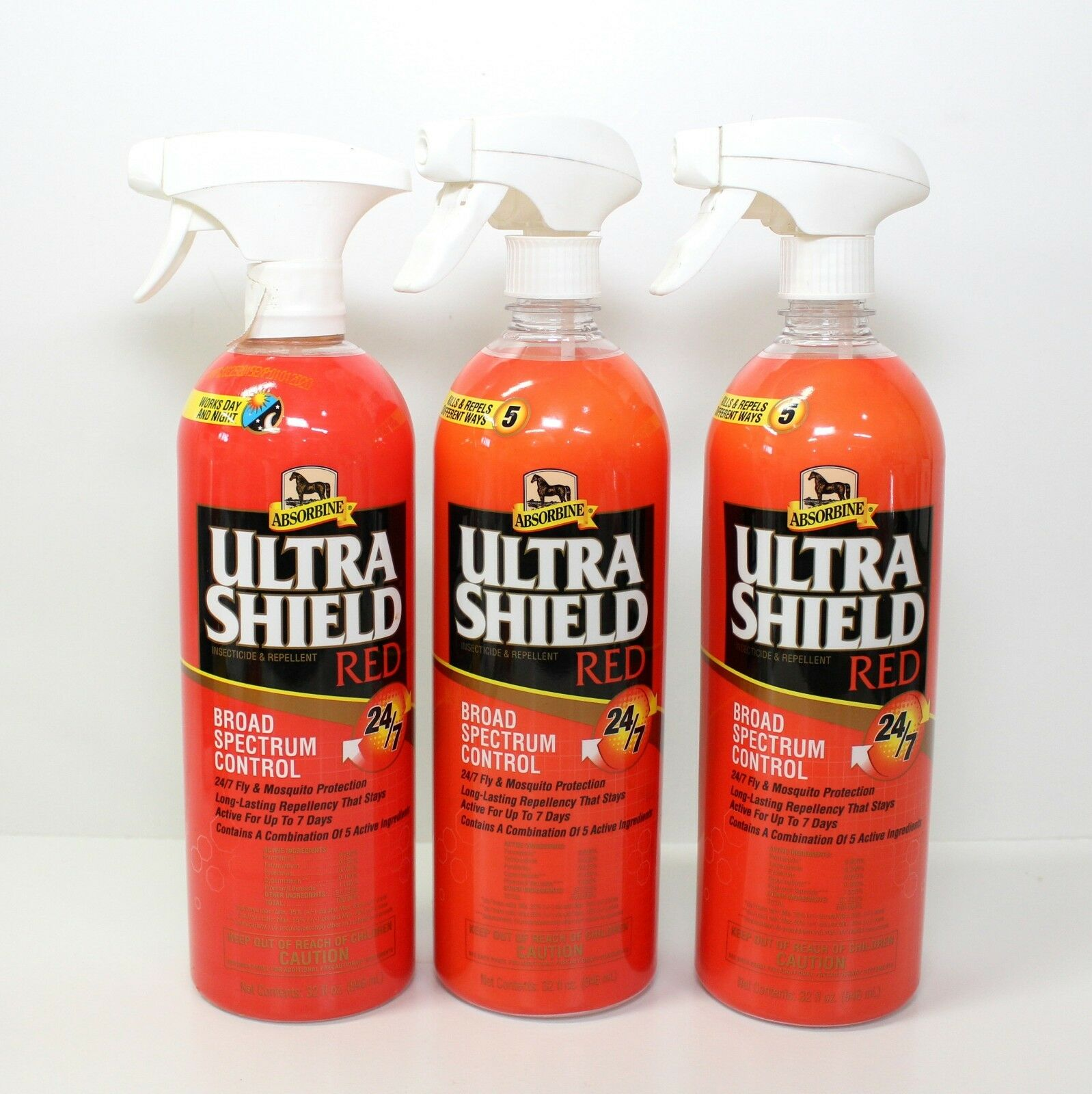 3 Absorbine UltraShield Red Horse Insecticide & Repellent Fly & Mosquito 32oz