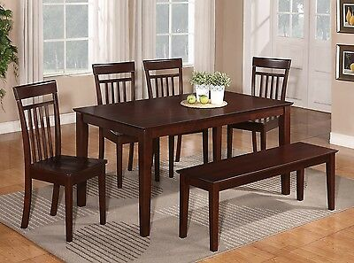 6PC RECTANGULAR DINETTE DINING TABLE w/ 4 WOOD SEAT CHAIRS & 1 BENCH IN  MAHOGANY | eBay