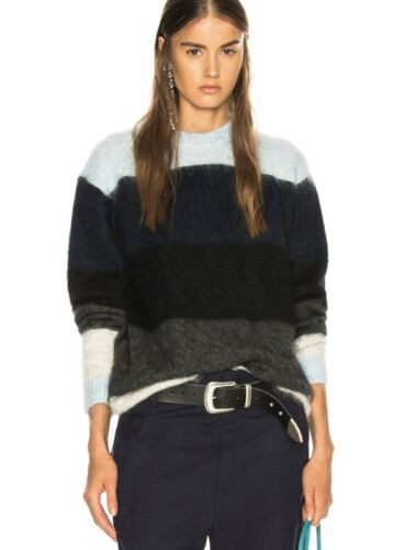 Acne Studios Albah Mohair Blue Stripe Knit Sweater
