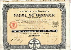 Action Cie Générale des Mines de Thakhek ( Laos-Indochine )