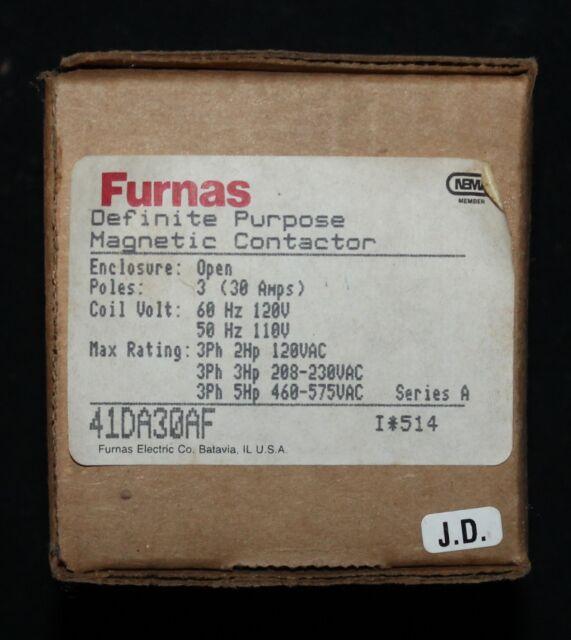 LOT of 5 NEW FURNAS 41DA30AF DEFINITE PURPOSE CONTACTOR 600V 30 AMP 3 POLE
