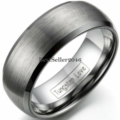 Mens Tungsten Carbide Ring Cross Brushed Gold Plated Wedding Band Size 8-12
