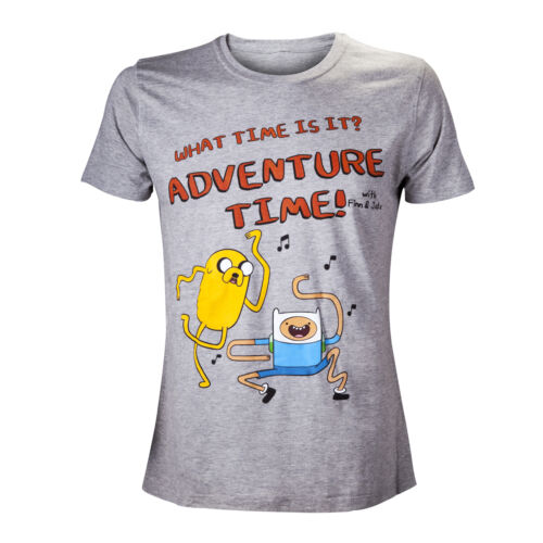 Adventure Time Official Licensed What Time Is It Grey Finn Jake Unisex Tshirt