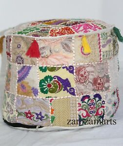 "Ottomans, Footstools & Poufs Furniture Strict 22"" Indian Ottoman Pouf Cover Vintage Patchwork Cotton Round Pouffe Stool Beige"