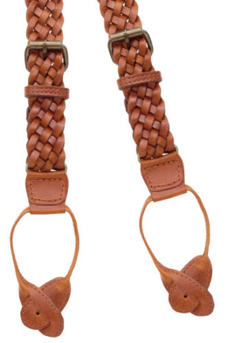 """LEATHER TABS BRAIDED LEATHER BRACES 1 SIZE in 47/"""" LIGHT BROWN Y-BACK"""