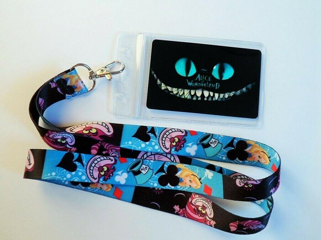 Alice in Wonderland Lanyard Neck Strap /matching card in grip-seal pvc id holder