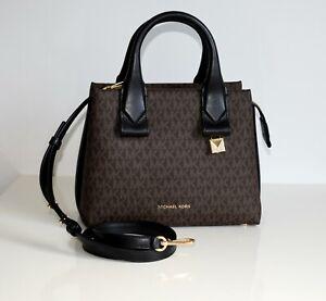 Details zu MICHAEL KORS Damen Tasche Bag ROLLINS SM SATCHEL PVCLeder braun schwarz