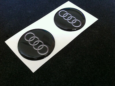 2 Adesivi Resinati Sticker 3d Audi 20 Mm Nero