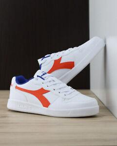 Diadora-Scarpe-Sportive-Sneakers-PlayGround-GS-Donna-Bianco-Arancio-Lifestyle