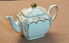 "Vintage Teapot SADLER ""CUBE"" (?) signed? England ivory w Gold trim VGC 9x6"" {025"