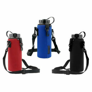 Sports Water Bottle Insulated Bags Carrier Pouch Adjustable Shoulder Straps Case