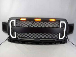 Front-Grill-Grille-Raptor-Style-for-2018-2019-Ford-F150-F-150-Amber-LED-Light