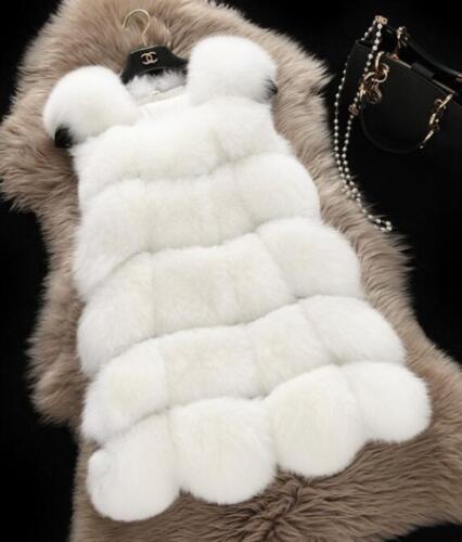 Women/'s Warm Gilet Outwear Long Slim Vest Faux Fox Fur Waistcoat Jacket Coat