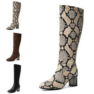 e377c5ea720a4 Women's Casual Knee-high Boots Shoes Leopard Snakeskin Block Pointy ...