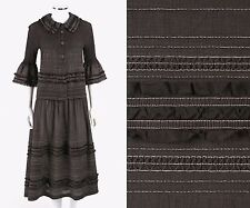 ISSEY MIYAKE Cauliflower 2 Pc Brown Crinkle Pleated Blouse Skirt Dress Set