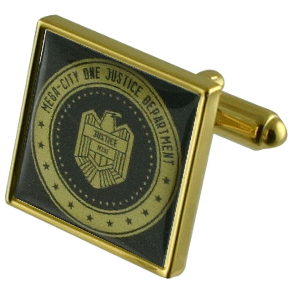 Giudice Dredd Badge Badge Badge oro Gemelli Quadrati con Custodia INCISO PERSONALIZZATO 365cad