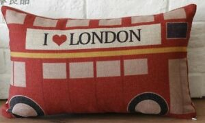 Rectangular-Cotton-Linen-Cushion-with-insert-London-Bus-I-love-London