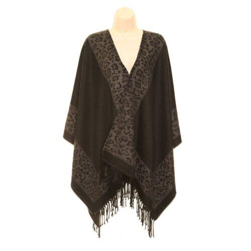 Ladies//Womans Leah Leopard Print Border Wrap Poncho Shawl 2 colours,