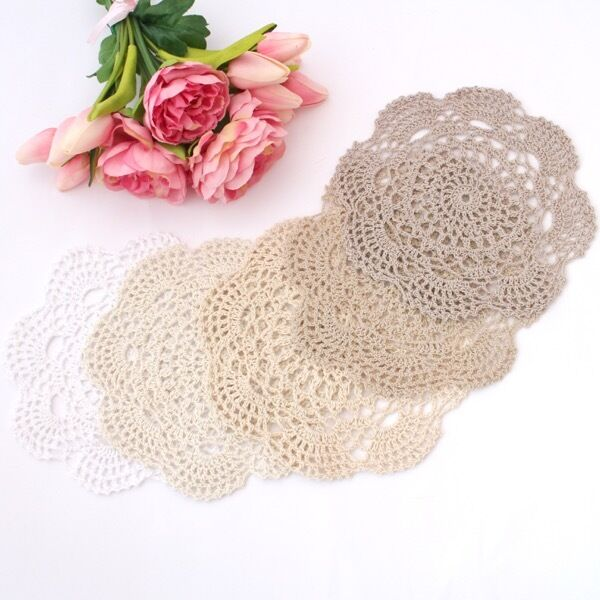 Crochet doilies white/ivory/cream/ecru/mocha 20cm for millinery and crafts