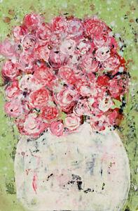 Pink Roses Floral Painting Original Impasto Knife Flower Art Katie Jeanne Wood