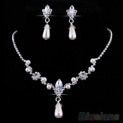 Bridal Super Glamor Wedding Faux Pearls Rhinestone Necklace Earrings Jewelry Set
